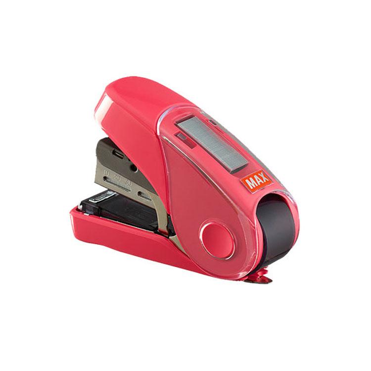 MAX SRKURIFLAT 刻度订书机 自带起钉器 可放备用钉 HD-10FL3K/P 玫红